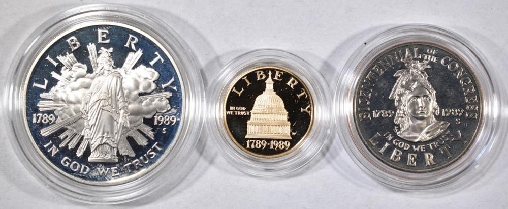 Lot 90: 1989 US CONGRESS 3-PIECE PROOF COIN SET: