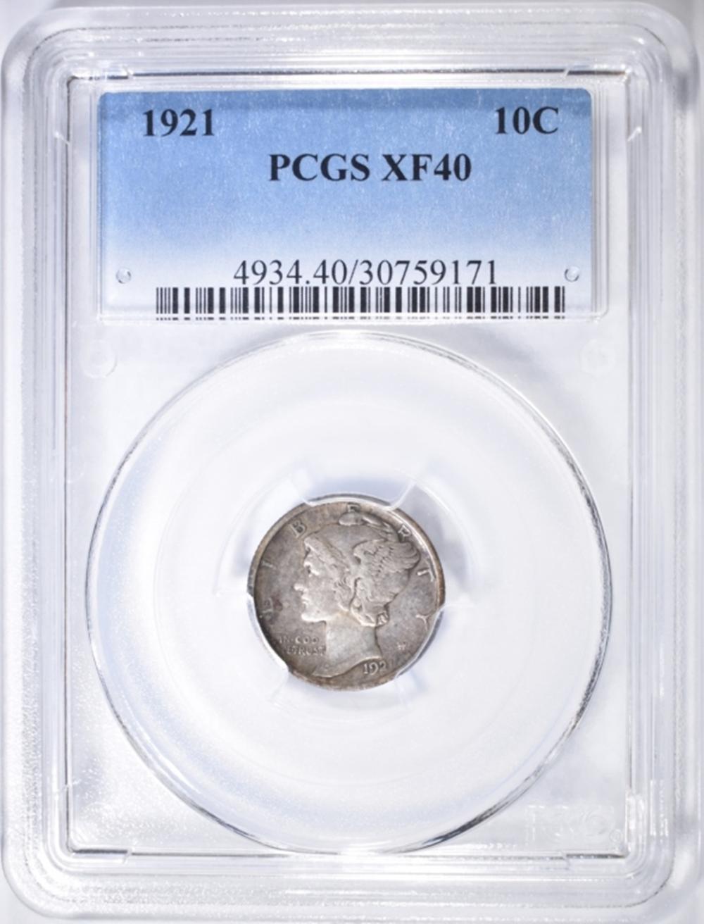 1921-P MERCURY DIME  PCGS XF-40
