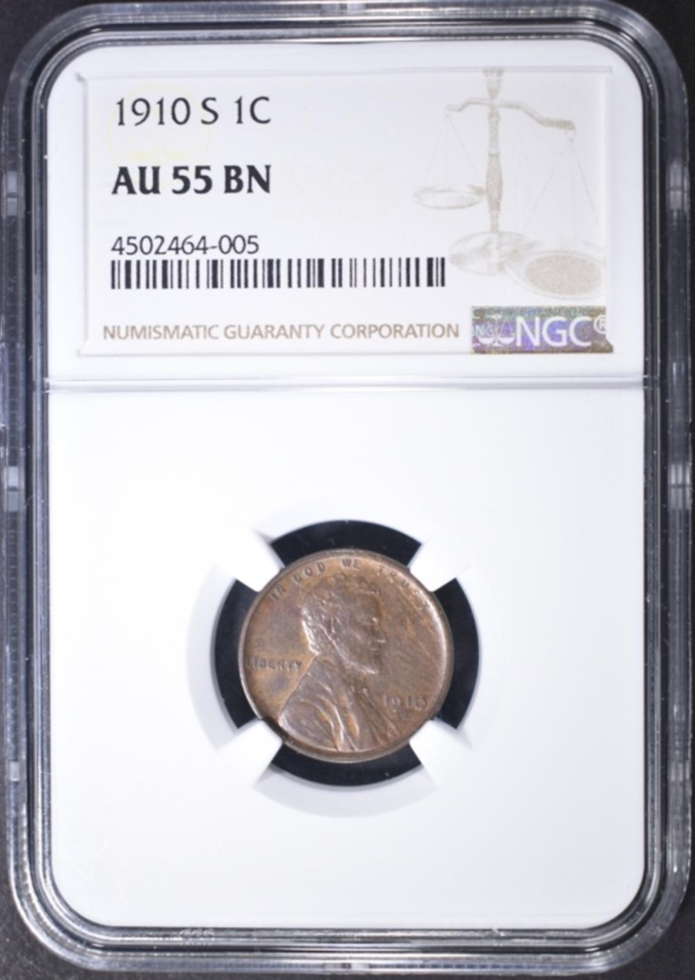 1910-S LINCOLN CENT  NGC AU-55 BN