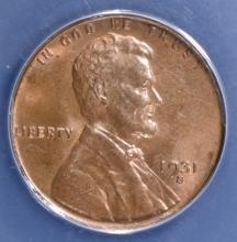 Lot 103: 1931-S LINCOLN CENT ANACS MS-63 RB