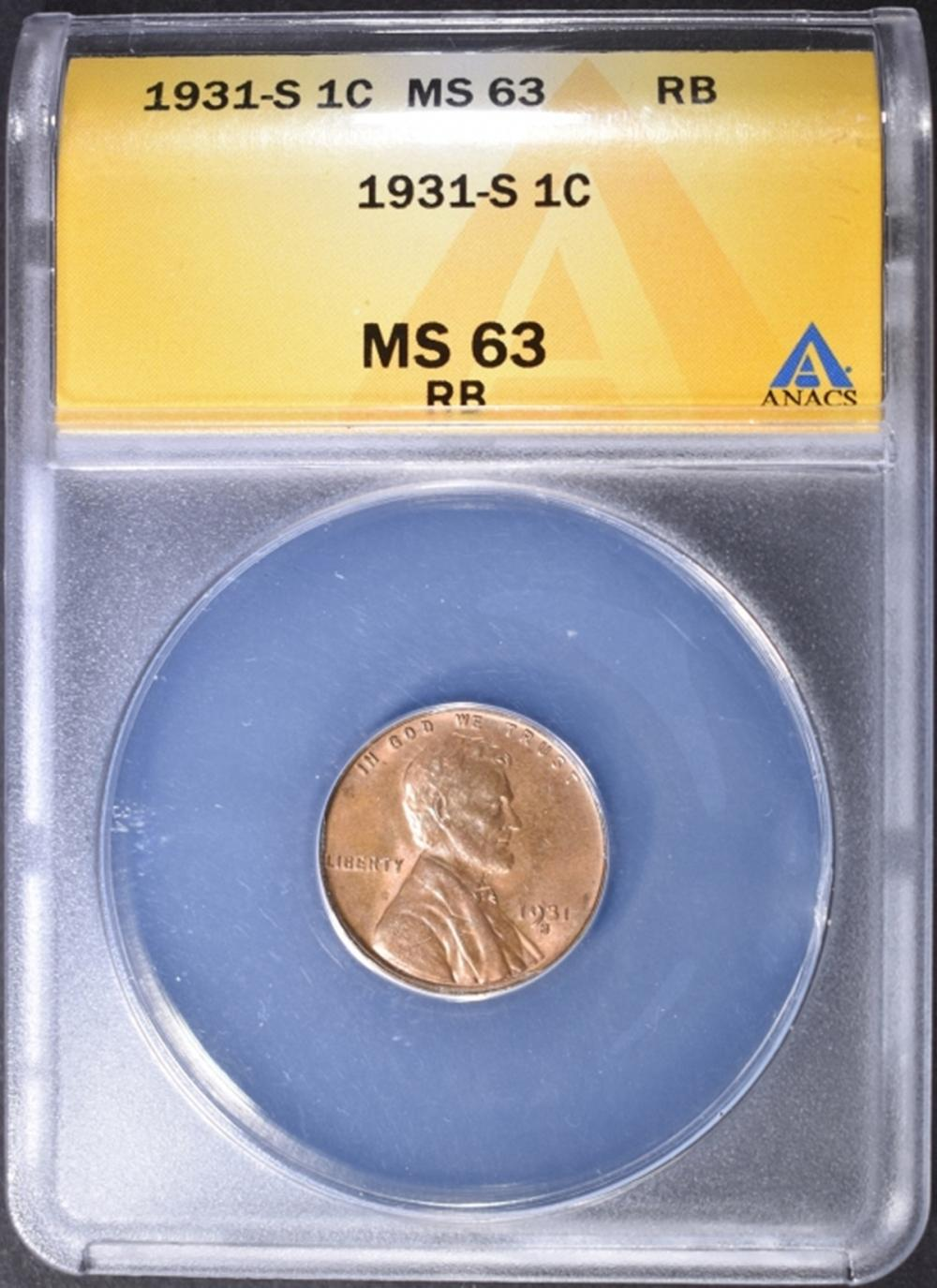 1931-S LINCOLN CENT  ANACS MS-63 RB
