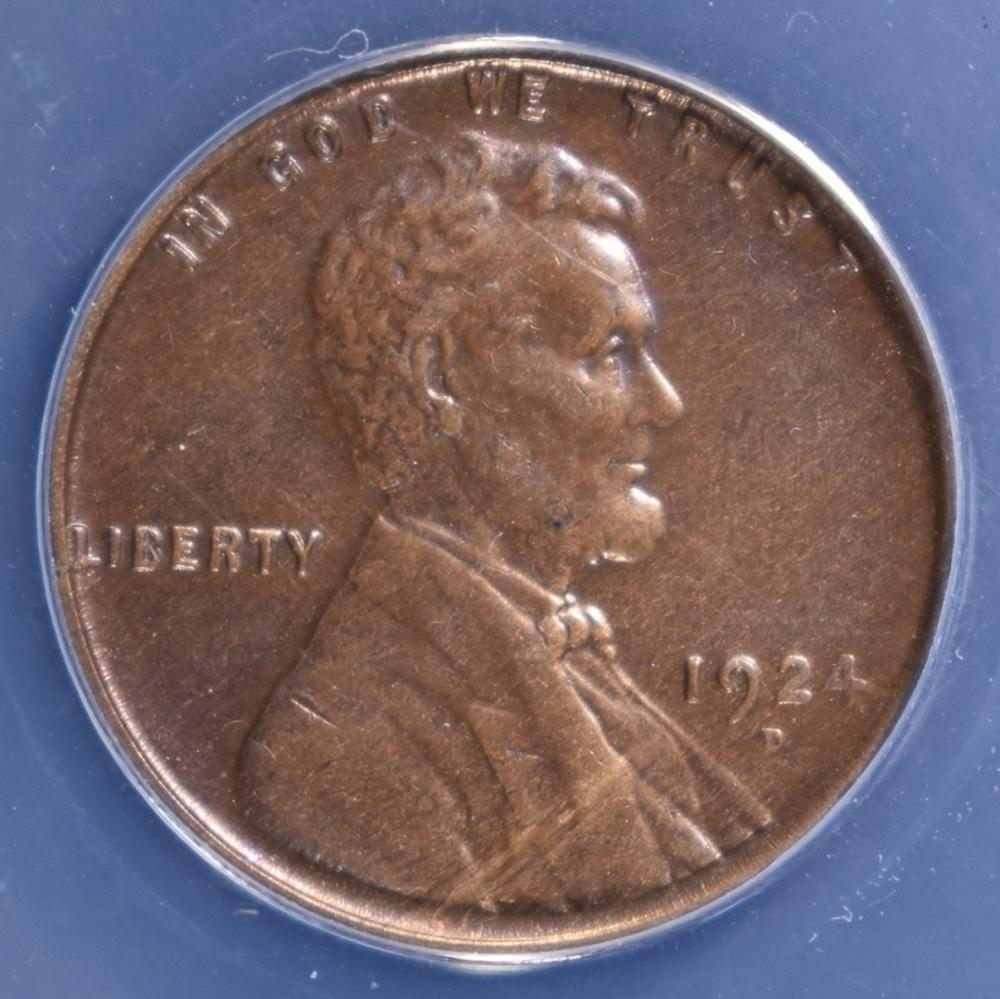 Lot 100: 1924-D LINCOLN CENT ANACS AU-58