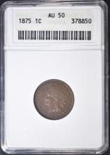 Lot 108: 1875 INDIAN HEAD CENT ANACS AU-50