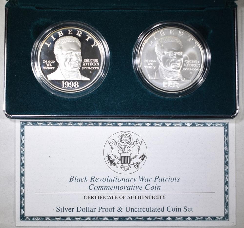 1998 BLACK REVOLUTIONARY WAR PATRIOTS 2-COIN SET
