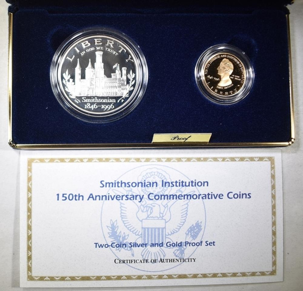 1996 SMITHSONIAN 150TH ANNIV. 2-COIN PROOF