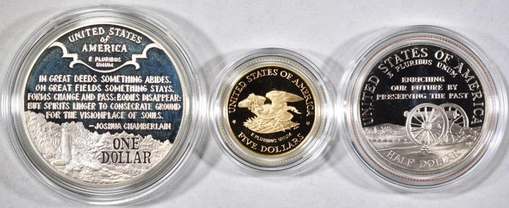 Lot 111: 1995 CIVIL WAR BATTLEFIELD 3-PIECE COMMEM SET