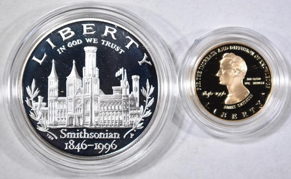 Lot 112: 1996 SMITHSONIAN 150TH ANNIV. 2-COIN PROOF