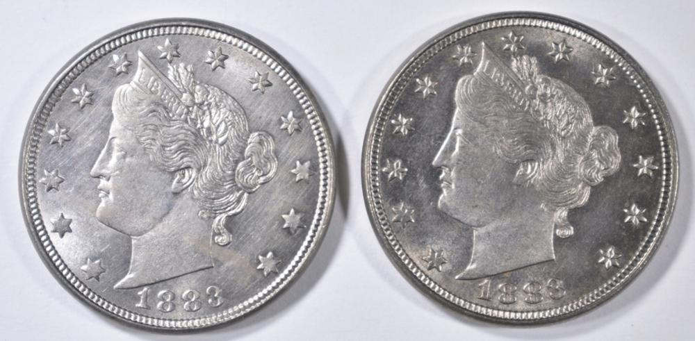 2 1883 NO CENTS LIBERTY NICKELS  CH BU