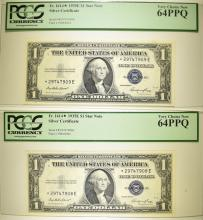 Lot 135: 1935E $1 SILVER CERTIFICATES PCGS 64 PPQ