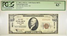 Lot 137: 1929 TYPE 1 $10 NC 1ST NB OF DALTON, OH PCGS 63