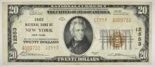 Lot 138: 1929 TYPE 2 $20 NATIONAL CURRENCY GRACE NB OF NY