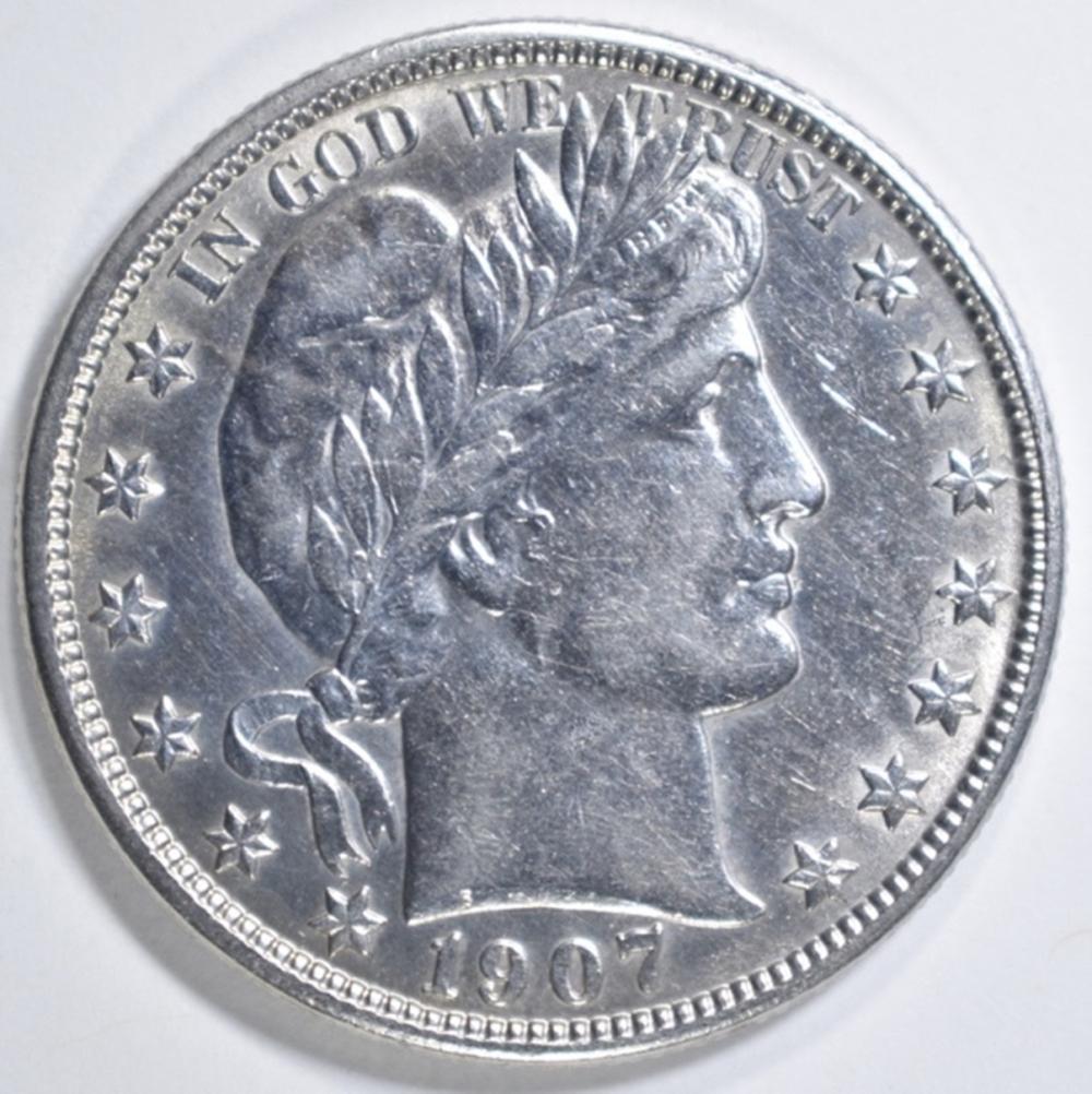 1907-O BARBER HALF DOLLAR  AU