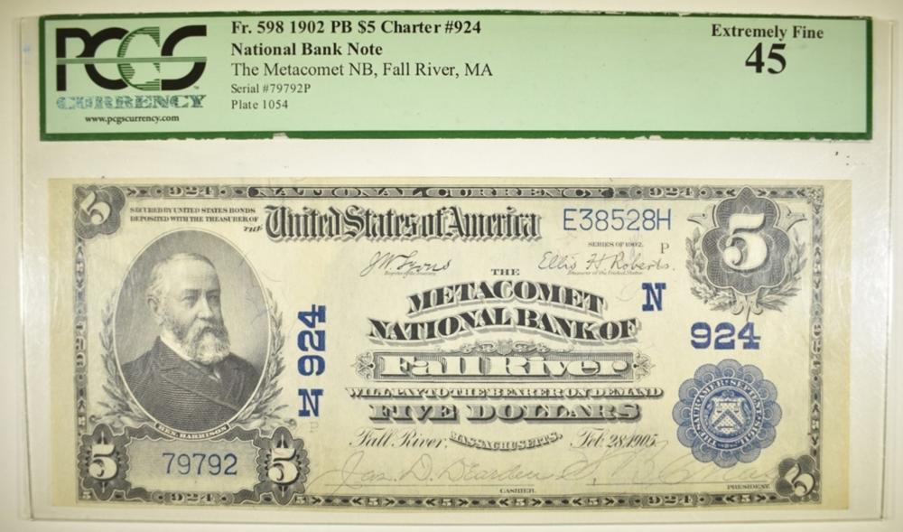 1902 $5 NC METACOMET NB OF FALL RIVER, MA  PCGS 45