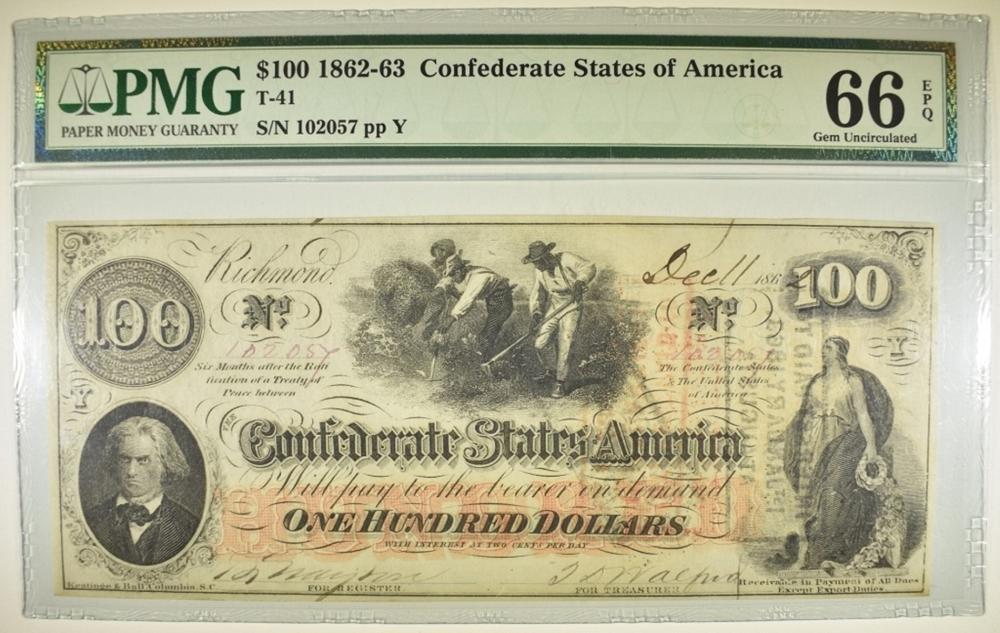 1862-63 $100 CSA PMG 66 EPQ
