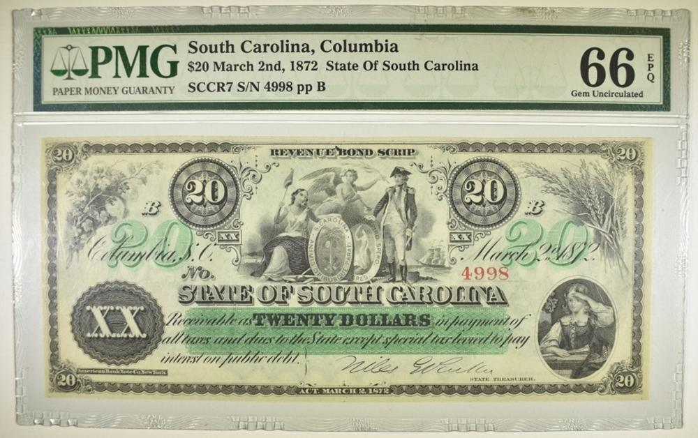 Lot 139: 1872 $20 STATE OF SOUTH CAROLINA PMG 66 EPQ