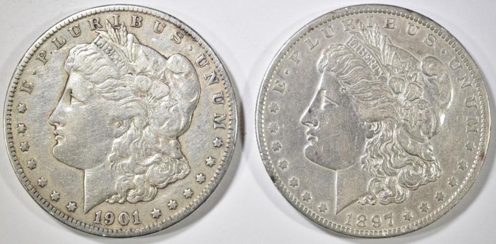 1897-O AU & 1901-O VF MORGAN DOLLARS