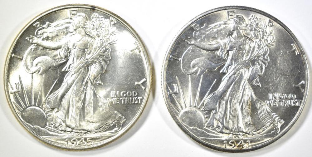 Lot 155: 1941-D & 45 WALKING LIBERTY HALF DOLLARS CH BU