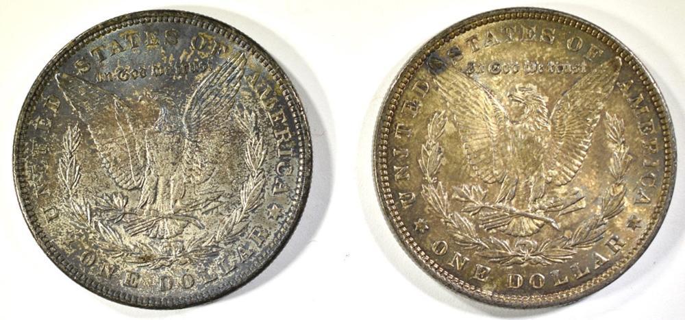 Lot 161: 1886 & 1889 TONED CH BU MORGAN DOLLARS