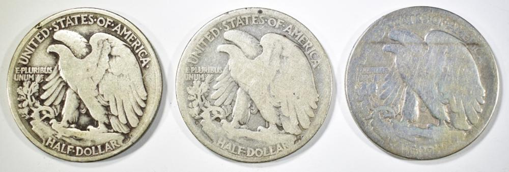 Lot 153: 1919-P,D,S WALKING LIBERTY HALF DOLLARS GOOD