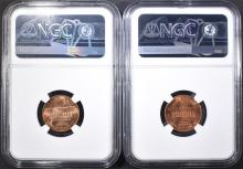 Lot 165: 1960 SD & LD LINCOLN CENTS, NGC MS-66 RED