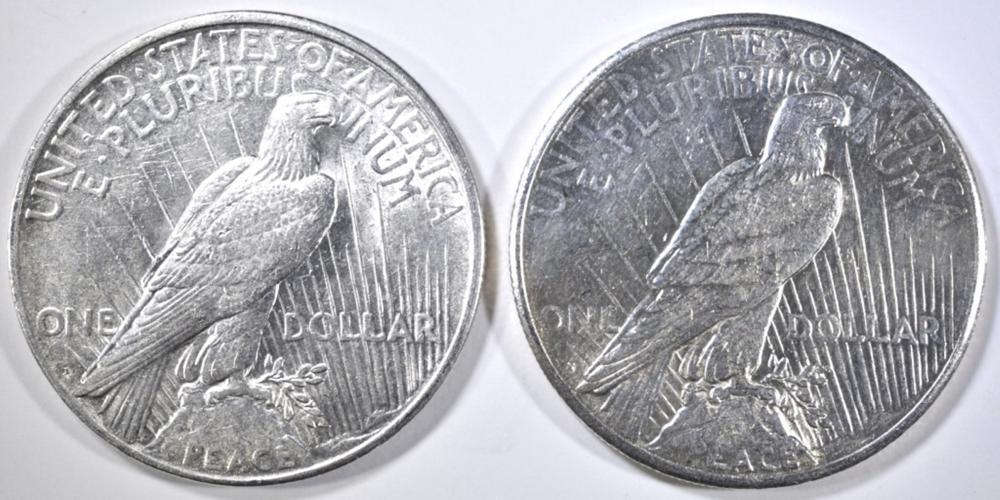 Lot 164: 1922-D CH BU & 22-S CH AU PEACE DOLLARS