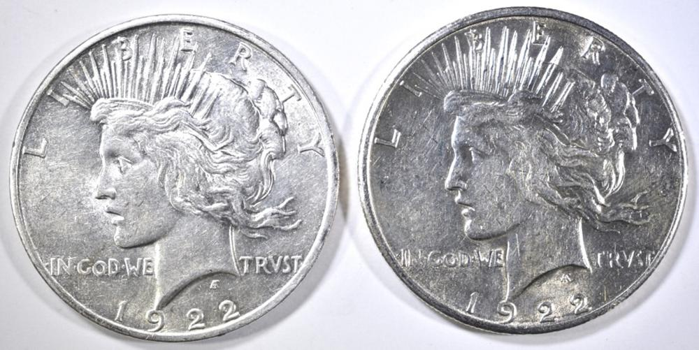 1922-D CH BU & 22-S CH AU PEACE DOLLARS