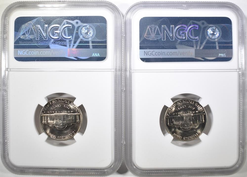 Lot 175: (2) 1965 NICKELS NGC MS-66