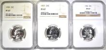 Lot 178: 1956, 57 & 58 WASHINGTON QUARTERS NGC PF-67