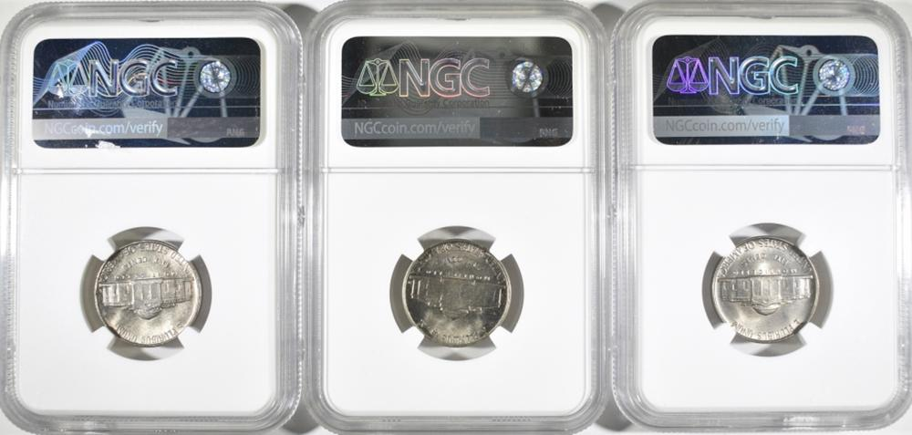 Lot 174: 1953-P-D-S JEFFERSON NICKELS, NGC MS-66