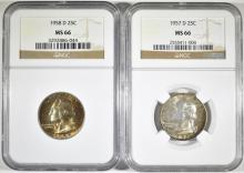 Lot 177: 1957-D & 58-D WASHINGTON QUARTERS, NGC MS-66 COLOR