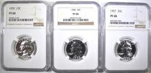 Lot 179: 1957, 58, 59 WASHINGTON QUARTERS NGC PF-68