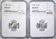 Lot 185: 1946 & 46-S ROOSEVELT DIMES, NGC MS-66 FT