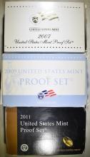 Lot 197: 2007, 09 & 11 U.S. PROOF SETS IN ORIG PACKAGING
