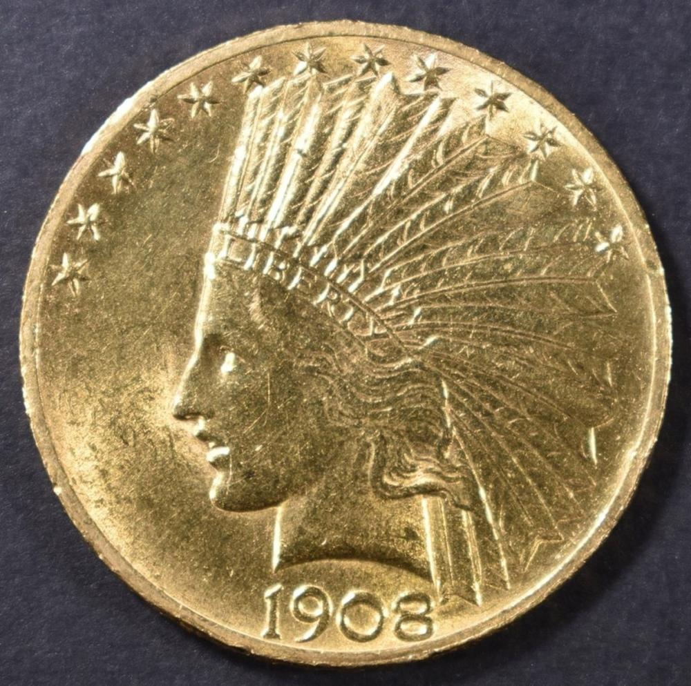 Lot 225: 1908 $10 INDIAN W/MOTTO CH BU