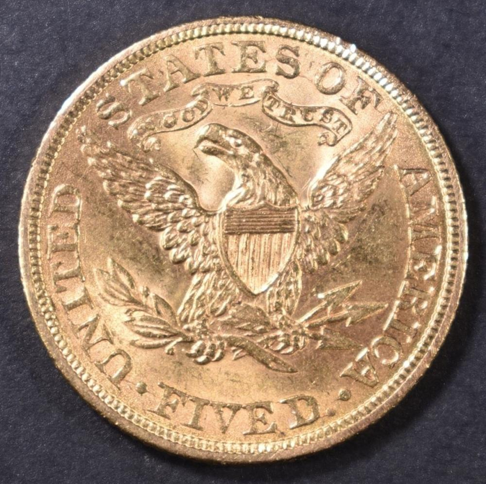 Lot 224: 1899 $5 GOLD LIBERTY VCH BU