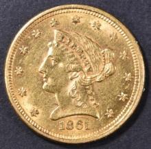Lot 223: 1861 $2.5 GOLD LIBERTY AU/BU