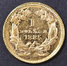 Lot 221: 1885 $1 GOLD INDIAN PRINCESS BU PL