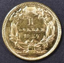Lot 220: 1857 $1 GOLD INDIAN PRINCESS CH BU