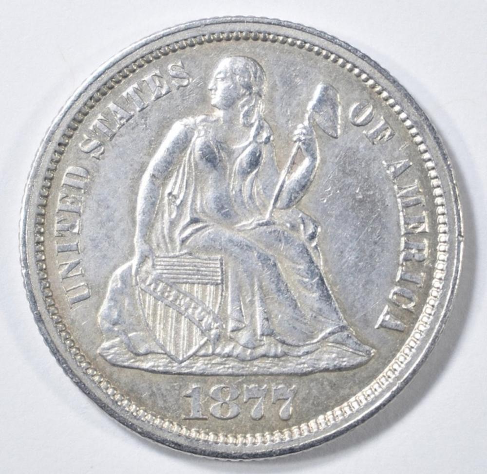 Lot 242: 1877-CC SEATED LIBERTY DIME AU/BU