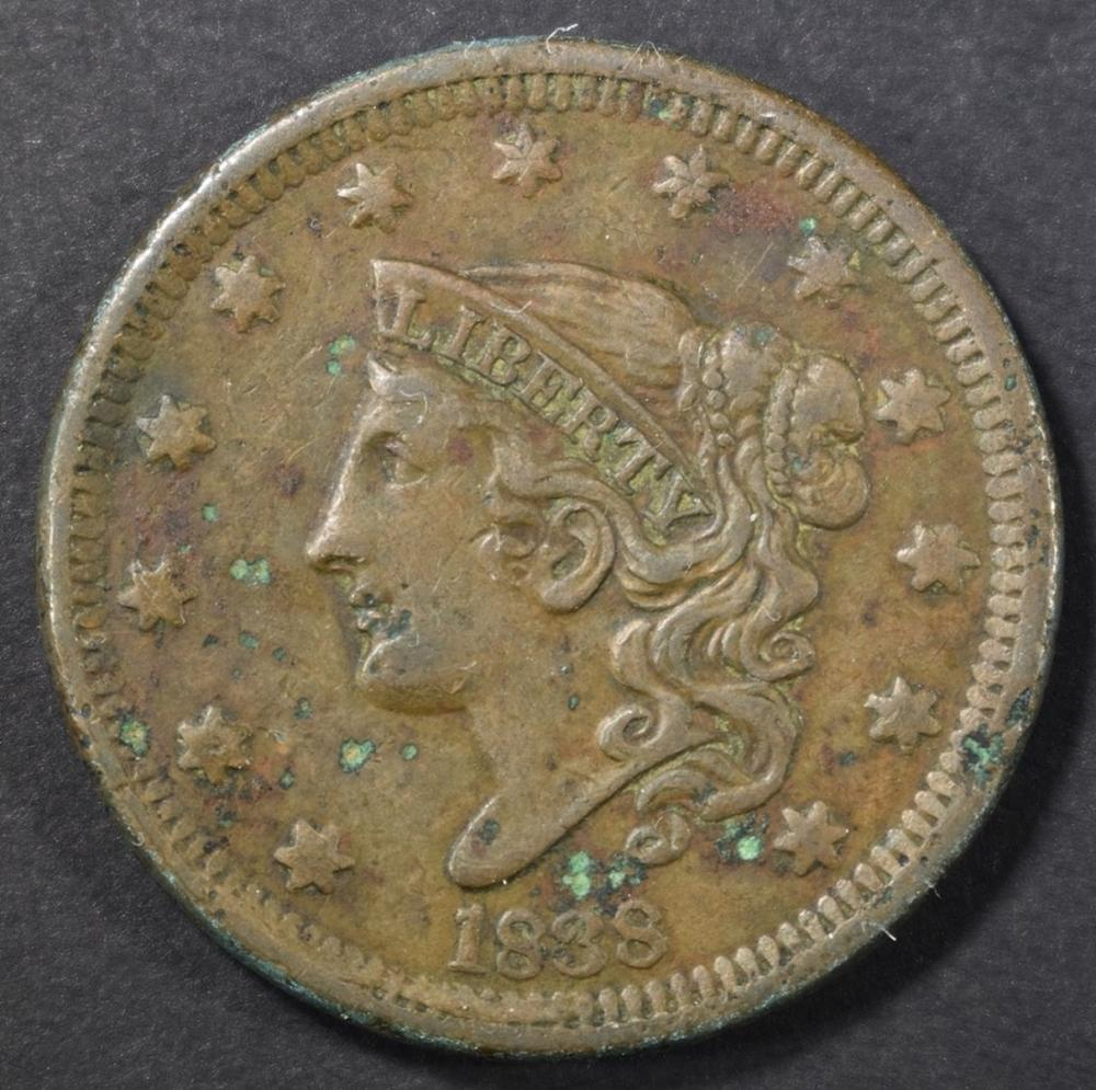 Lot 252: 1838 LARGE CENT, XF