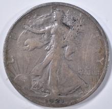 Lot 263: 1921-S WALKING LIBERTY HALF DOLLAR, VF+ SCARCE!!!
