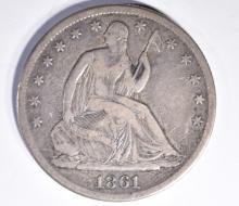 Lot 261: 1861-S SEATED HALF DOLLAR, XF