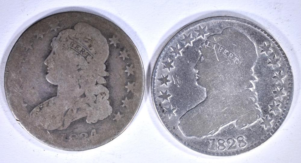 Lot 259: 2 - BUST HALF DOLLARS; 1834 AG &