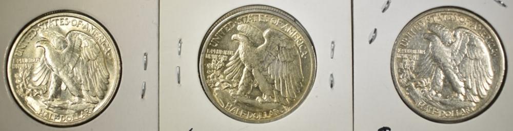 Lot 264: (3) 1944-S WALKING LIBERTY HALF DOLLARS