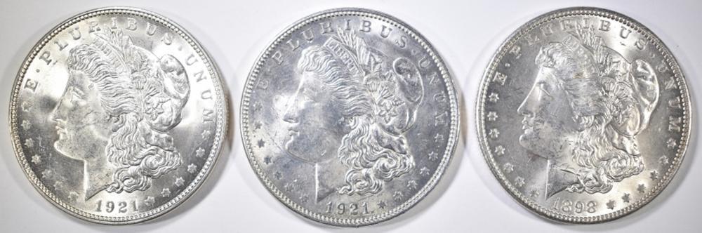 Lot 283: 1898-O & 2 1921 MORGAN DOLLARS CH BU