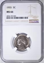 Lot 291: 1955 JEFFERSON NICKEL NGC MS-66