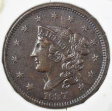 Lot 298: 1837 LARGE CENT AU/BU