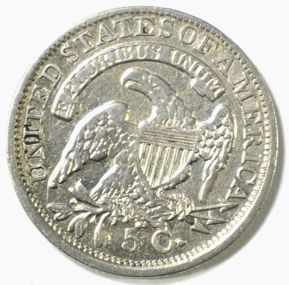 Lot 300: 1835 CAPPED BUST HALF DIME, XF