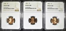 Lot 299: 3 - 1961 LINCOLN CENTS NGC PF67* RD