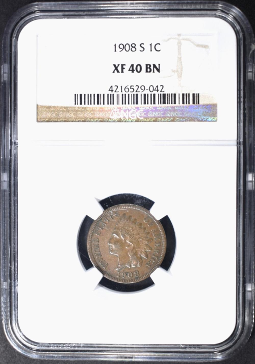 Lot 310: 1908-S INDIAN CENT NGC XF-40